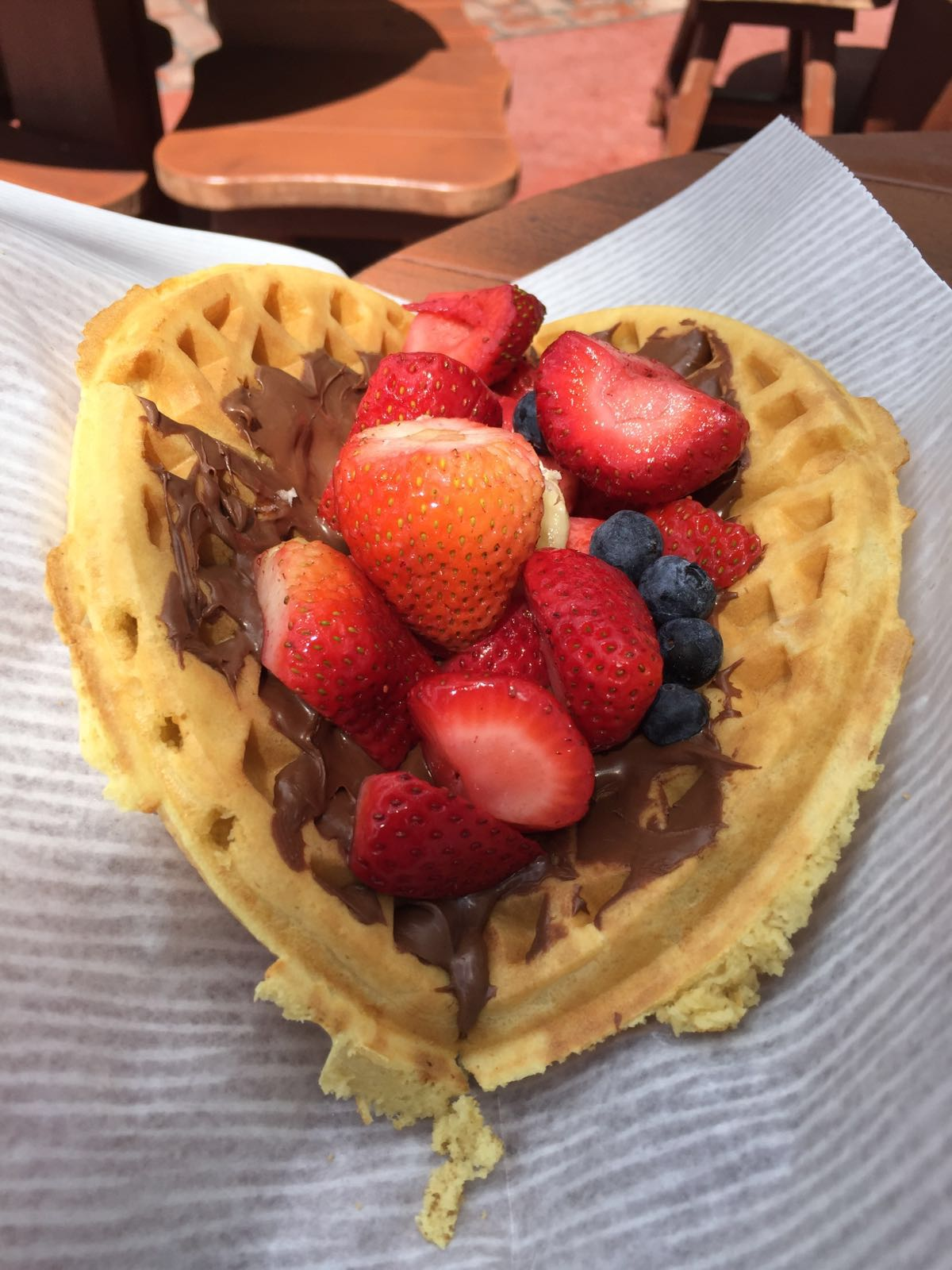 Nutella Waffle Sandwich with fresh fruit