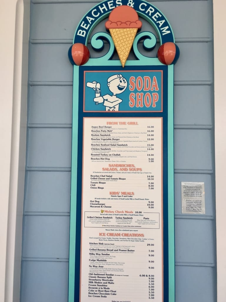 Beaches and Cream menu