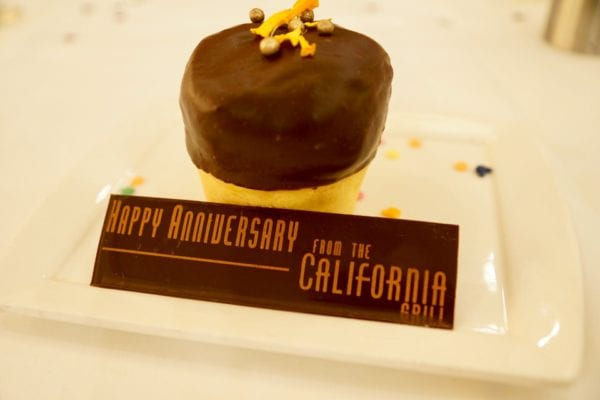 California Grill Review Anniversary Cupcake