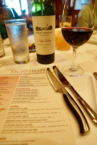 Yachtsman Steakhouse Full Review knives and wine