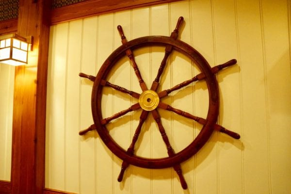 Yachtsman Steakhouse Full Review captains steering wheel