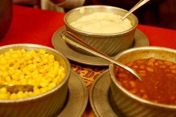 Hoop Dee Doo Musical Revue Full Review Side Dishes Corn Beans Mashed Potatoes close