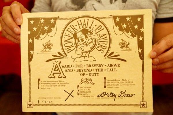 Hoop Dee Doo Musical Revue Nick's Performance Certificate