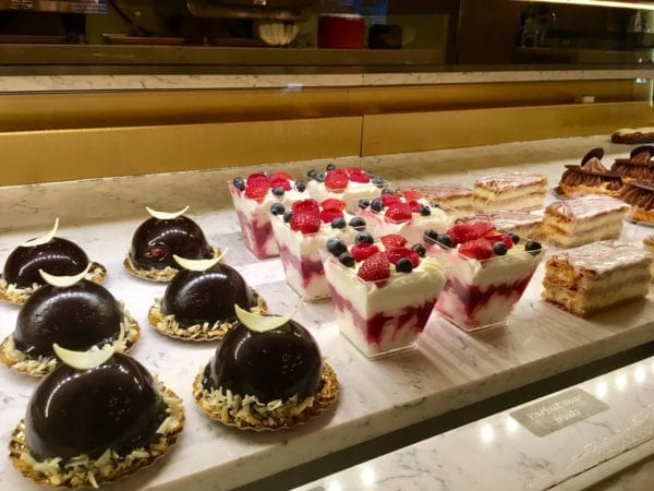 Les Halles Boulangerie Patisserie Bakery Review Display Case Duo Cake and Fruit Parfait