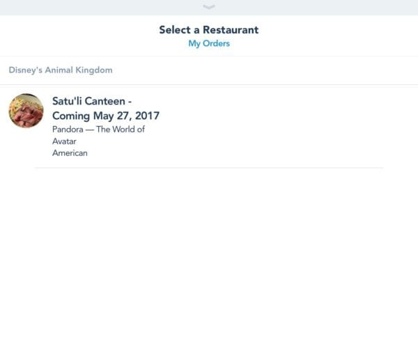 My Disney Experience Mobile Food Order