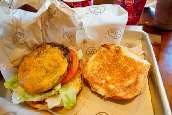 D-Luxe Burger Review Cheeseburger open