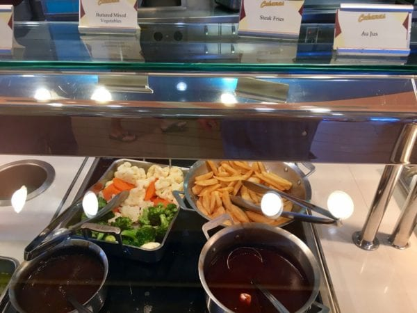 Disney Cruise Cabanas Lunch Review Vegetables and Steak Fries