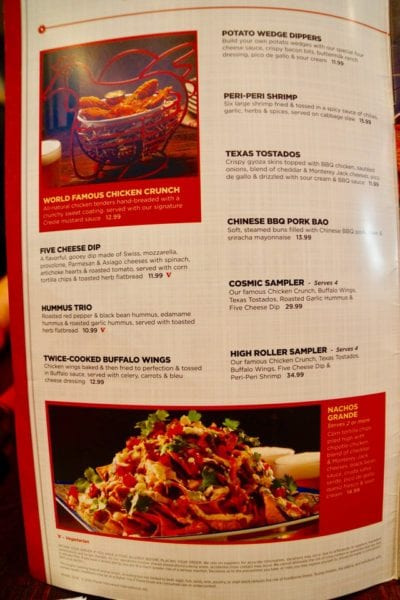 Planet Hollywood Observatory Review Appetizer Menu