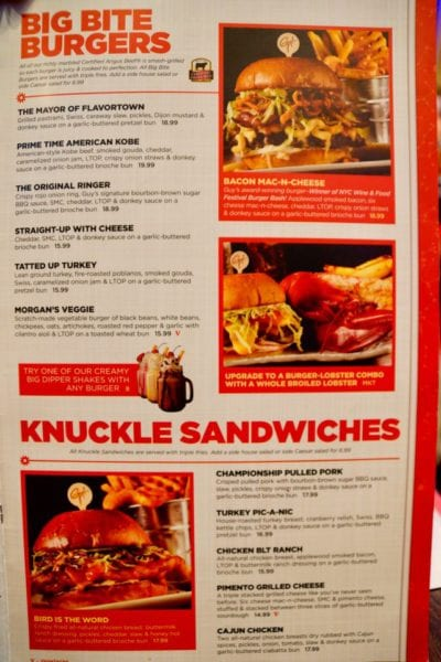 Planet Hollywood Observatory Review burgers and sandwiches menu