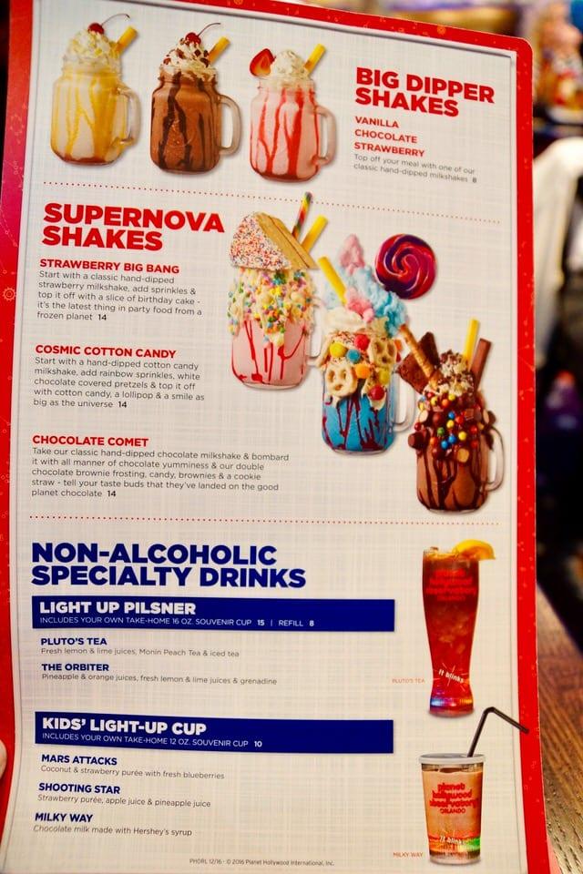 Planet Hollywood Downtown Disney Drink Menu