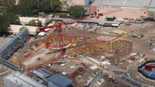 Toy Story Land Slinky Dog Dash Track areal shot