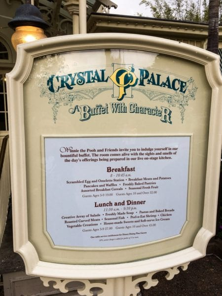 Crystal Palace Breakfast Review Menu Sign