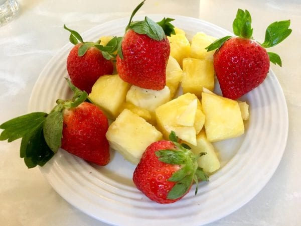Crystal Palace Breakfast Review Fruit Plate Strawberries and Pineapple
