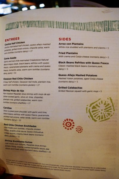 Frontera Cocina Review Menu Entrees