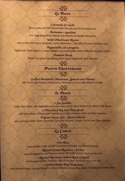 Palo Dinner Review Menu