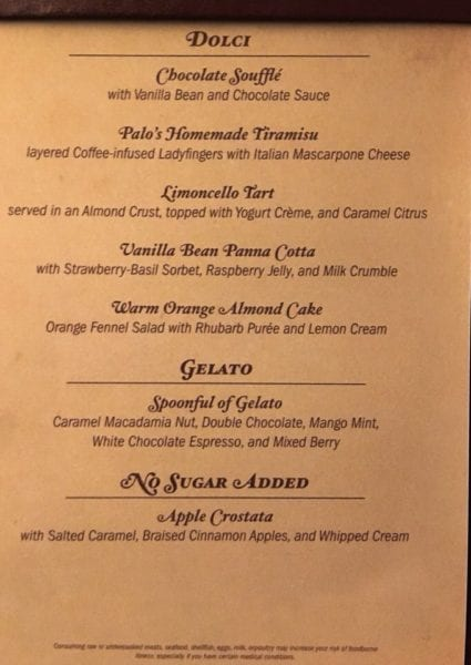 Palo Dinner Review Dessert Menu