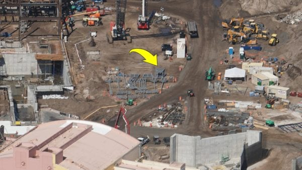 Star Wars Land AT-AT construction materials on ground
