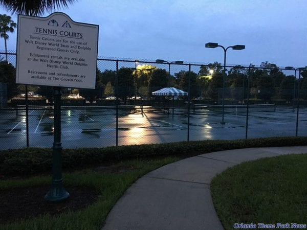 New Resort near the Swan tennis courts at night