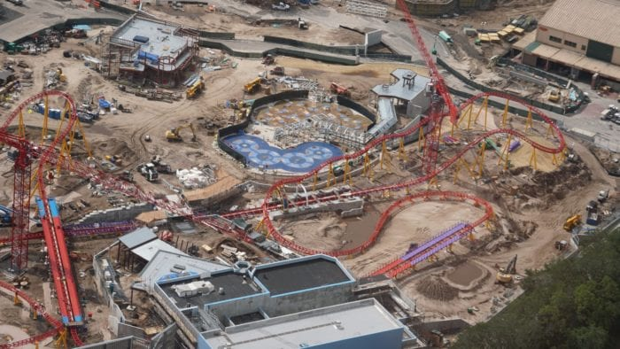 Slinky Dog Dash Coaster Track finished overhead