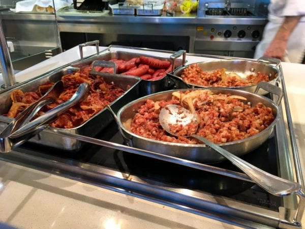 Disney Cruise Cabanas Breakfast Review Corn Beef Hash Turkey Sausage and Bacon
