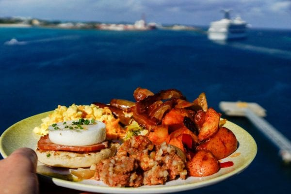 DisnDisney Cruise Cabanas Breakfast Review Food Plate outside