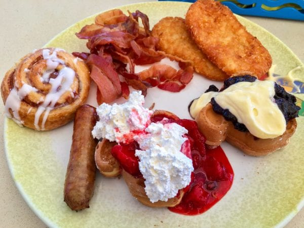 DisnDisney Cruise Cabanas Breakfast Review Mickey Waffles Plate