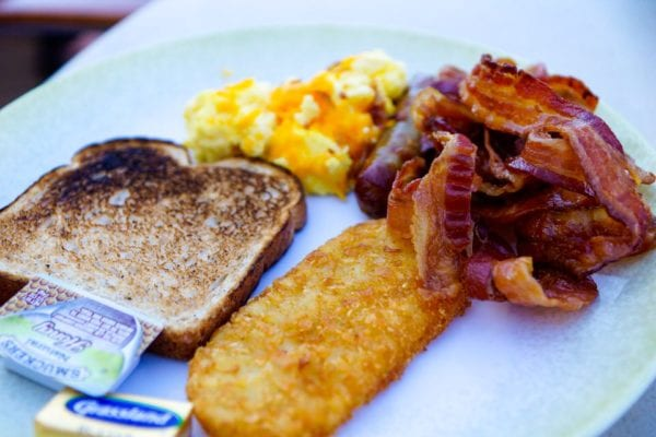DisnDisney Cruise Cabanas Breakfast Review Food Plate Bacon and Hash Browns