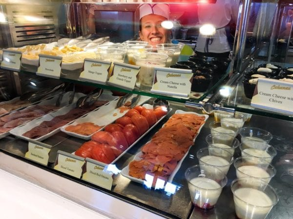 Disney Cruise Cabanas Breakfast Review Sliced Meats and Cheese Station