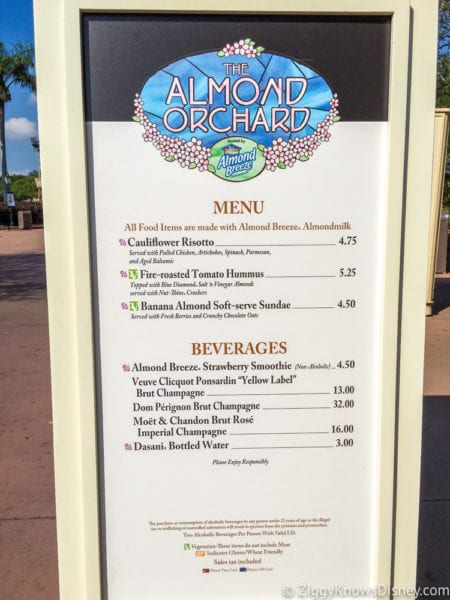 Almond Orchard Review 2017 Epcot Food and Wine menu