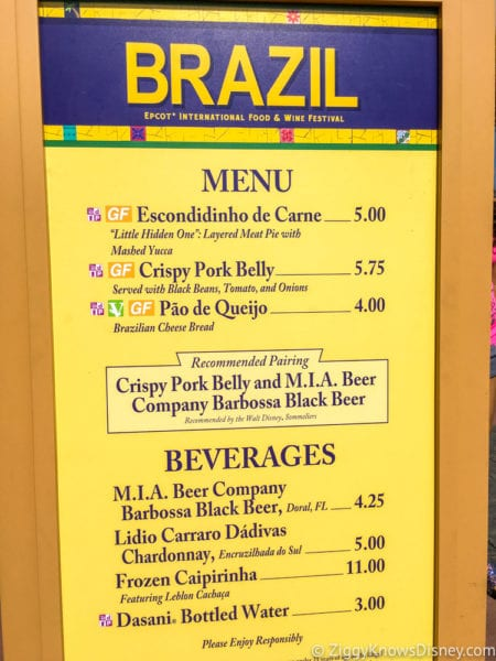 Brazil Review 2017 Epcot Food and Wine Festival Brazil Menu