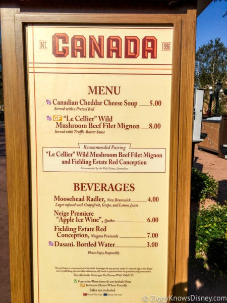Canada Review 2017 Epcot Food and Wine Festival Canada Menu
