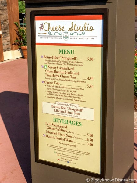 Cheese Studio Review 2017 Epcot Food and Wine Festival Cheese Studio Menu