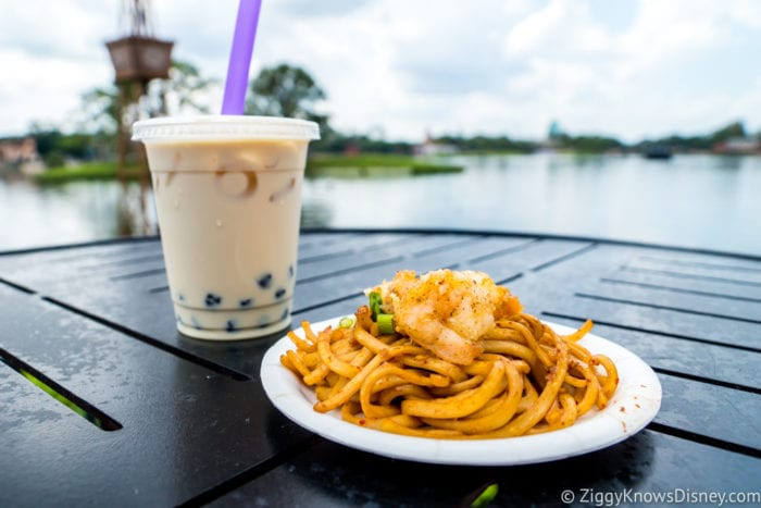 China Review 2017 Epcot Food and Wine Festival Black Pepper Shrimp with Garlic Noodles Black Boba Tea