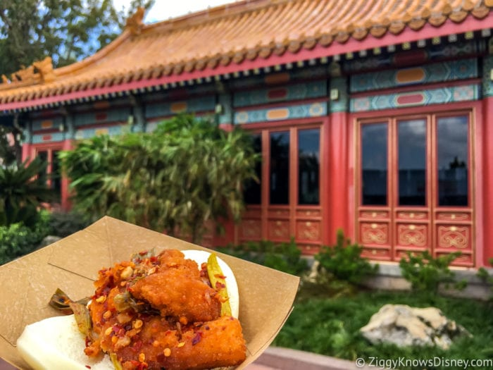 China Review 2017 Epcot Food and Wine Festival Spicy Chicken Bao Bun posing