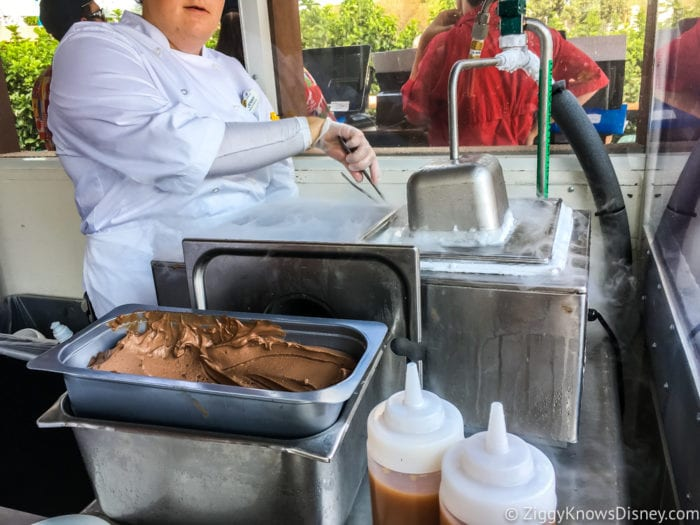 Chocolate Studio Review 2017 Epcot Food and Wine Festival Dipping the chocolate in Liquid Nitrogen