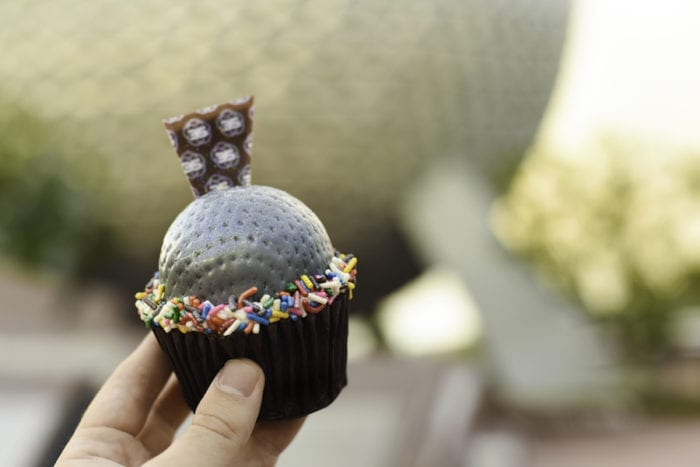 Epcot 35th Anniversary Special Eats spaceship earth cupcake