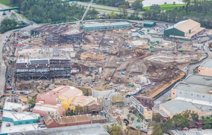Star Wars Galaxy's Edge Construction Progress areal shot