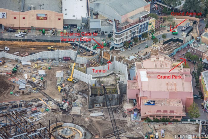 Star Wars Galaxy's Edge Construction Progress entrance area