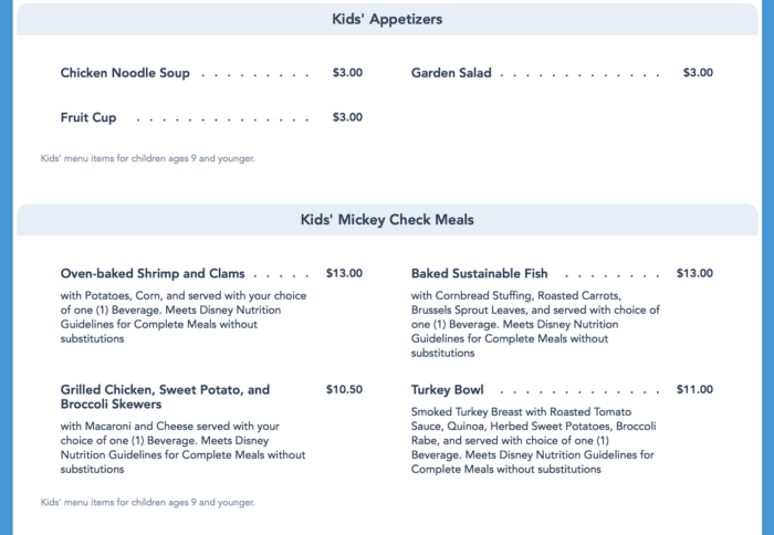 Ale & Compass Menu kids