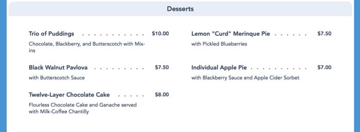 Ale & Compass Menu desserts