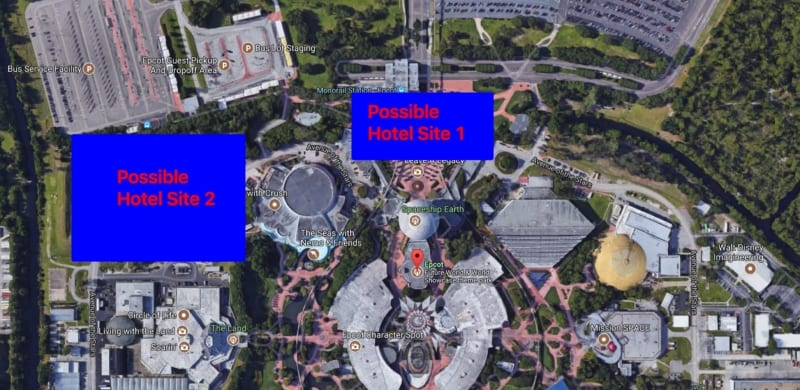 Possible locations for New Future World Hotel in Epcot Expansion
