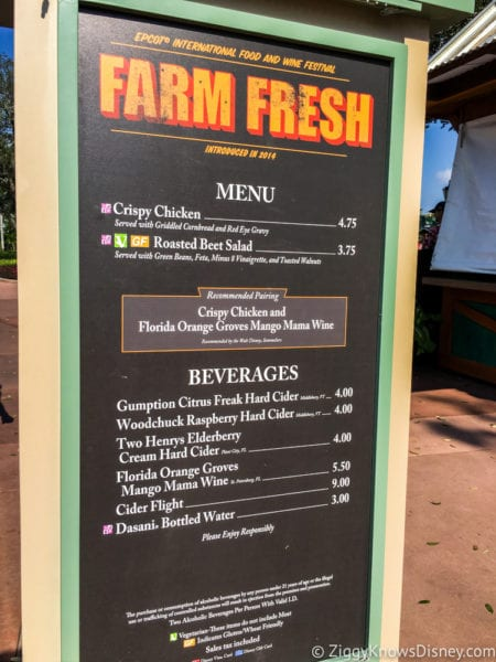 Farm Fresh Review 2017 Epcot Food and Wine Festival Farm Fresh Menu