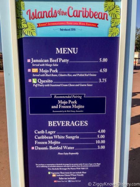 Islands of the Caribbean Review 2017 Epcot Food and Wine Festival menu