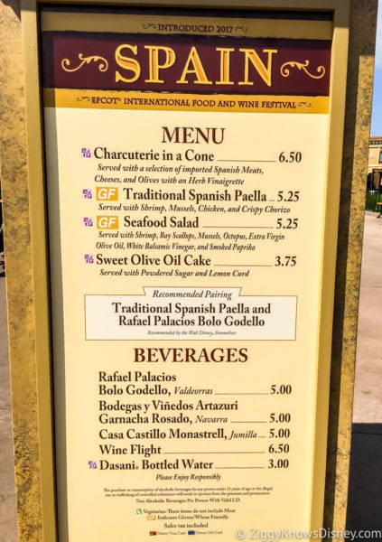Spain Review 2017 Epcot Food and Wine Festival Spain Menu