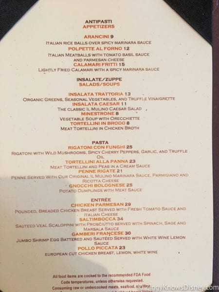 Hurricane Irma in Walt Disney World il mulino menu