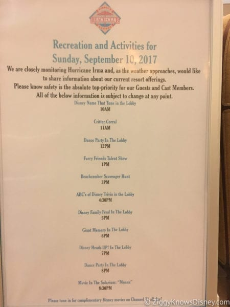 Hurricane Irma in Walt Disney World beach club activities