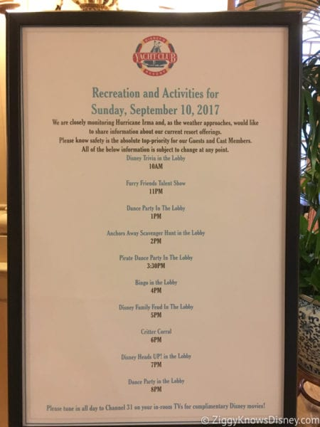Hurricane Irma in Walt Disney World yacht club activités list
