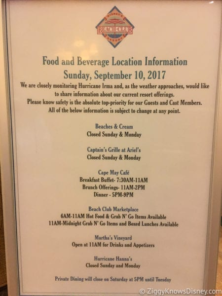 Hurricane Irma in Walt Disney World beach club food menu