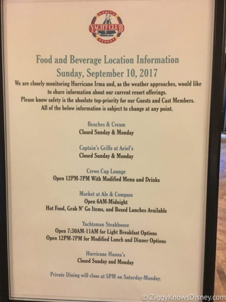 Hurricane Irma in Walt Disney World yacht club food menu