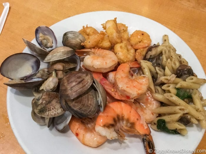 Hurricane Irma in Walt Disney World cap may cafe buffet plate seafood clams and shrimp